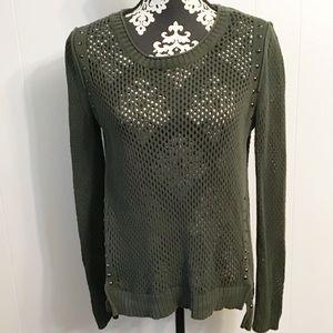 Rock & Republic Green Sweater Mesh Stud Detail